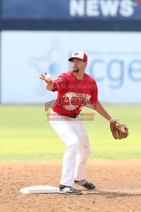 Ryan Metzler (18) of the Vancouver Canadians in the field at second base during a game against the Eugene Emeralds at Nat Bailey Stadium on July 22, 2015 in Vancouver, British Columbia. Vancouver defeated Eugene, 4-2. (Larry Goren/Four Seam Images)