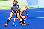 Alyssa Manley #29 of United States tackles during USA vs Germany in a women's quarterfinal game at the Rio 2016 Olympics at the Olympic Hockey Centre in Rio de Janeiro, Brazil.