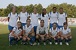 01 Aug 2009: The Boston Breakers starting lineup: (front row)(L-R) Jennifer Nobis, Maggie Tomecka, Allison Lipsher, Heather Mitts, Amy LePeilbet; (back row)(L-R) Nancy Augustyniak Goffi, Kelly Smith, Kristine Lilly, Fabiana, Candace Chapman, Angela Hucles.  Saint Louis Athletica defeated the visiting Boston Breakers 1-0 in a regular season Women's Professional Soccer game at Anheuser-Busch Soccer Park, in Fenton, MO.
