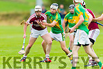 Anthony Fealy Causeway in action against Darragh Shanahan Lixnaw in the Kerry Senior Hurling Championship at Abbeydorney on Saturday evening.