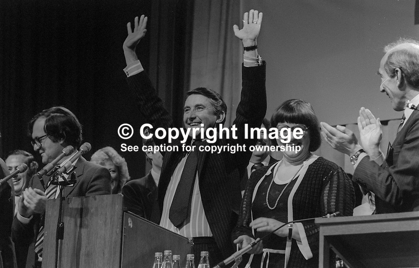 Liberal Party leader David Steel acknowledges the applause after speaking at annual conference in Harrogate, September, 1982. Also in the photo are Judith Steel, David Steel&rsquo;s wife, and MP Alan Beith. 198209000152b<br /><br />Copyright Image from Victor Patterson, 54 Dorchester Park, <br />Belfast, UK, BT9 6RJ<br /><br />t1: +44 28 9066 1296 (from Rep of Ireland 048 9066 1296)<br />t2: +44 28 9002 2446 (from Rep of Ireland 048 9002 2446)<br />m: +44 7802 353836<br /><br />victorpatterson@me.com<br />www.victorpatterson.com<br /><br />Please see my Terms and Conditions of Use at VICTORPATTERSON.COM. It is IMPORTANT that you familiarise yourself with them.<br /><br />Images used on the Internet must be visibly watermarked i.e. &copy;VICTORPATTERSON.COM within the body of the image and copyright metadata must not be deleted. Images used on the Internet have a size restriction of 4kbs and are chargeable at the then current NUJ rates.<br /><br />This image is only available for the use of the download recipient i.e. television station, newspaper, magazine, book publisher, etc, and must not be passed on to any third party. It is also downloaded on condition that each and every usage is notified within 7 days to victorpatterson@me.com<br /><br />The right of Victor Patterson to be identified as the author is asserted in accordance with The Copyright Designs And Patents Act (1988).