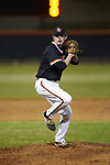 Davie War Eagles starting pitcher Carson Whisenhunt (18) in action against the Lake Norman Wildcats at Davie County High School on March 7, 2018 in Mocksville, North Carolina.  The Wildcats defeated the War Eagles 12-0.  (Brian Westerholt/Four Seam Images)
