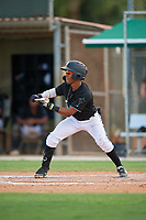 GCL Marlins Nasim Nunez (1) bunts during a Gulf Coast League game against the GCL Astros on August 8, 2019 at the Roger Dean Chevrolet Stadium Complex in Jupiter, Florida.  GCL Marlins defeated GCL Astros 5-4.  (Mike Janes/Four Seam Images)