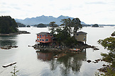 USA, Alaska, Sitka, homes perched on a small island in the Sitka Sound, Crescent Bay