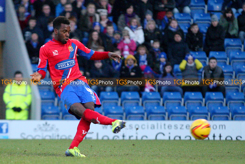 Zavon Hines of Dagenham and Redbridge misses a penalty - Chesterfield vs Dagenham and Redbridge, Sky Bet Football League football at the Proact Stadium - 29/12/13 - MANDATORY CREDIT: Dave Simpson/TGSPHOTO - Self billing applies where appropriate - 0845 094 6026 - contact@tgsphoto.co.uk - NO UNPAID USE