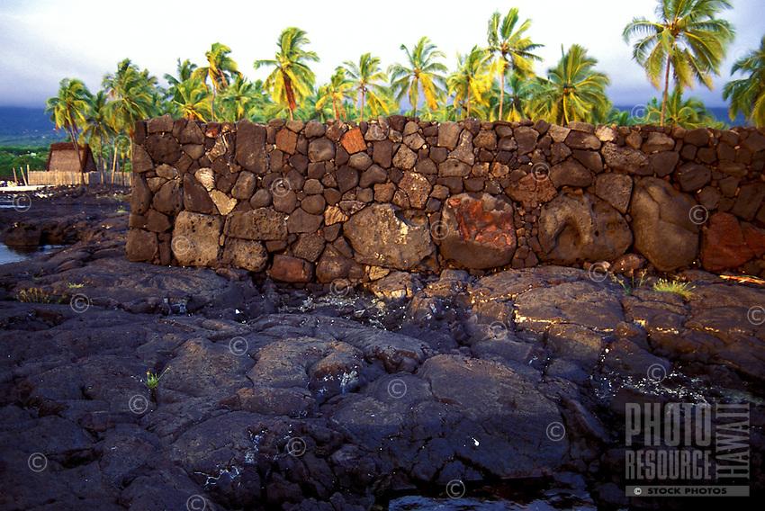 Stone wall of Pa Hula (Hula Platform) at Puu Honua O Honaunau National Historic Park (City of Refuge), in Kona, Hawaii.