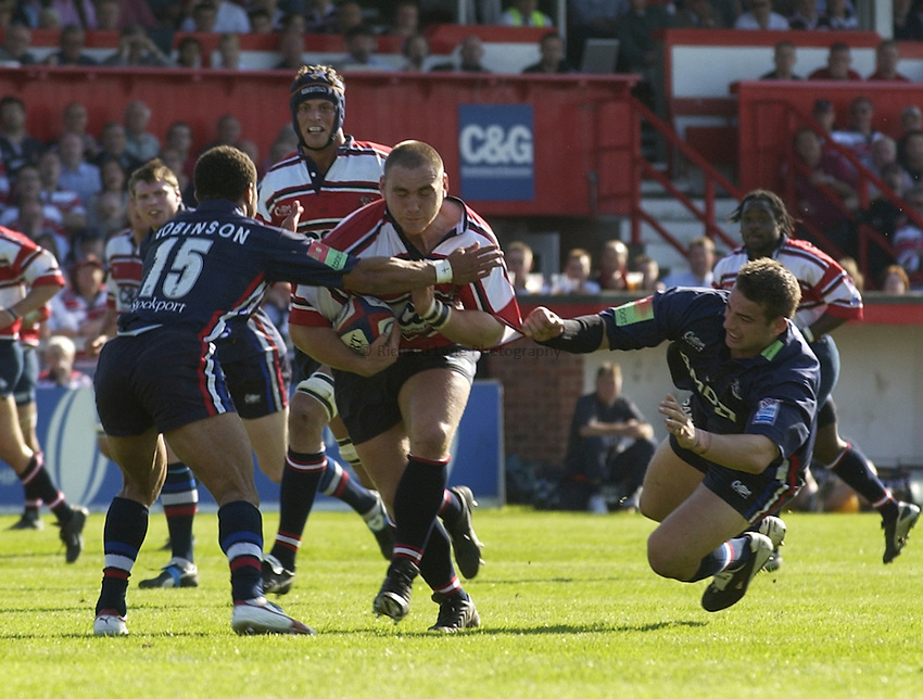 Photo. Henry Browne..15/05/2004..Gloucester v Sale Sharks Zurich Wild Card Semi-Final...Trevor Woodman charges into the Sale defence.