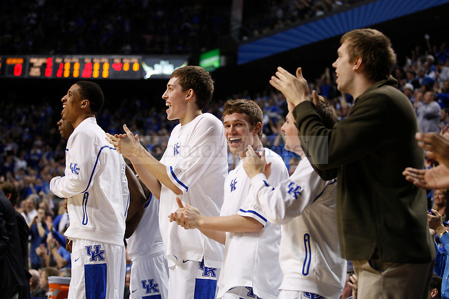 The University of Kentucky bench cheers for teammates in the first half of the basketball game against the University of Georgia, at Rupp Arena, on March 1, 2012. Photo by Latara Appleby | Staff ..