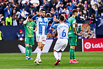 Oscar Rodriguez (L) and Roque Mesa (R) of CD Leganes celebrate goal