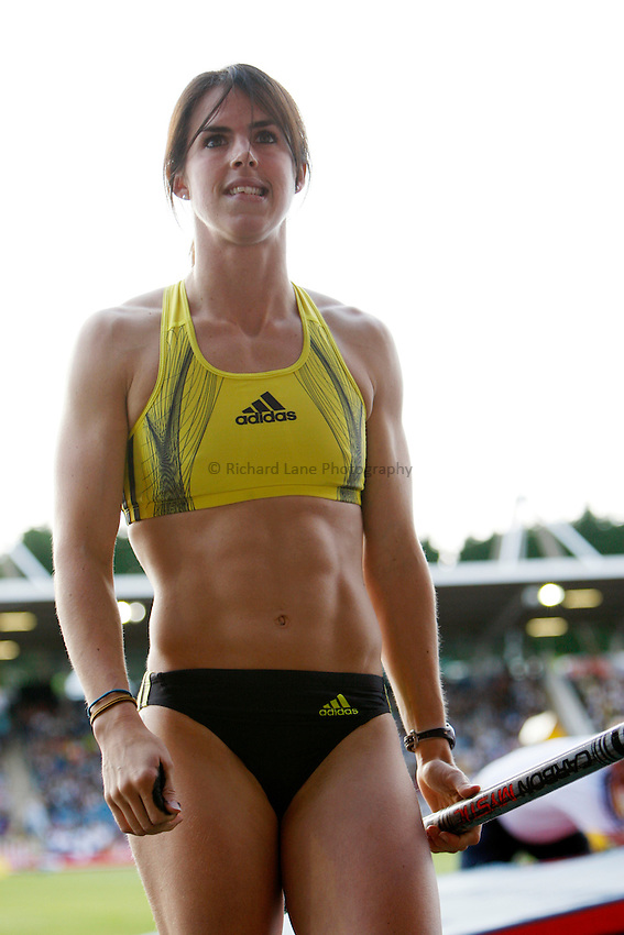 Photo: Richard Lane/Richard Lane Photography..Aviva London Grand Prix. 24/07/2009. Great Britain's Kate Dennison after setting a new national record in the women's pole vault.