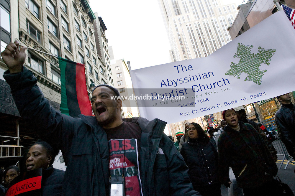 16 December 2006 - New York City, NY - Protesters march down 34th Street in New York City, USA, 16 December 2006, to protest the fatal police shooting of Sean Bell and the wounding of two of his friends in a 50-shot fusillade on his wedding day. Photo Credit: David Brabyn/Sipa Press<br />