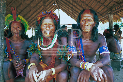 Bacaja village, Amazon, Brazil. Elders sitting in the men's hut fully adorned; Xicrin tribe.
