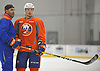 Anthony Beauvillier #72, forward, right, works with coach Scott Gomez during New York Islanders Prospect Mini Camp at Northwell Health Ice Center in East Meadow, NY on Wednesday, June 28, 2017.