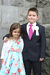 Ciaran and Chloe Arthur at the St Mary's Congress Avenue Communion in St.Mary's Church...(Photo credit should read Jenny Matthews www.newsfile.ie)....This Picture has been sent you under the conditions enclosed by:.Newsfile Ltd..The Studio,.Millmount Abbey,.Drogheda,.Co Meath..Ireland..Tel: +353(0)41-9871240.Fax: +353(0)41-9871260.GSM: +353(0)86-2500958.email: pictures@newsfile.ie.www.newsfile.ie.
