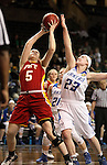 SIOUX FALLS MARCH 22:  Elena Flott #5 from Pittsburg State shoots over Brionna Barnett #23 from Grand Valley State during their quarterfinal game at the NCAA Women's Division II Elite 8 Tournament at the Sanford Pentagon in Sioux Falls, S.D. (Photo by Dave Eggen/Inertia)
