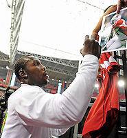 Sept. 27, 2009; Glendale, AZ, USA; Arizona Cardinals wide receiver (81) Anquan Boldin signs autographs prior to the game against the Indianapolis Colts at University of Phoenix Stadium. Indianapolis defeated Arizona 31-10. Mandatory Credit: Mark J. Rebilas-