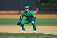 Notre Dame Fighting Irish first baseman Daniel Jung (31) on defense against the Wake Forest Demon Deacons at David F. Couch Ballpark on March 10, 2019 in  Winston-Salem, North Carolina. The Demon Deacons defeated the Fighting Irish 7-4 in game one of a double-header.  (Brian Westerholt/Four Seam Images)