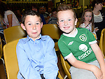 Josh Taaffe, and Dnnacha McCourt pictured at Ardee Celtic underage awards night in Ardee Parish Centre. Photo:Colin Bell/pressphotos.ie