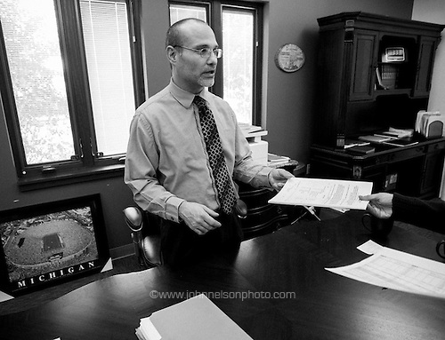 Lake Station Mayor Christopher Anderson reviews the city's budget figures.