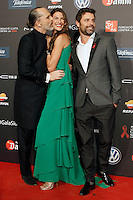 Spanish model Laura Sanchez with Miguel Bose (l) and her boyfriend during Barcelona 5th AIDS Ceremony. November 24,2014.(ALTERPHOTOS/Acero) /NortePhoto<br />