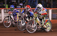 Heat 11: Leigh Adams (white), Adam Shields (red) and Chris Neath (blue) - Lakeside Hammers vs Swindon Robins, Elite League Speedway at the Arena Essex Raceway, Purfleet - 03/09/10 - MANDATORY CREDIT: Rob Newell/TGSPHOTO - Self billing applies where appropriate - 0845 094 6026 - contact@tgsphoto.co.uk - NO UNPAID USE.