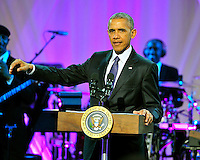 United States President Barack Obama delivers remarks at BET&rsquo;s &ldquo;Love and Happiness: A Musical Experience&rdquo; on the South Lawn of the White House in Washington, DC on Friday, October 21, 2016.<br /> Credit: Ron Sachs / Pool via CNP /MediaPunch