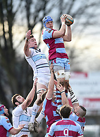 Adam Peters of Rotherham Titans wins the ball at a lineout. Greene King IPA Championship match, between Rotherham Titans and Bedford Blues on January 17, 2018 at Clifton Lane in Rotherham, England. Photo by: Patrick Khachfe / Onside Images