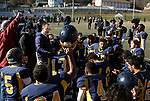 WATERBURY, CT - 23 NOVEMBER 2017 -112317JW01.jpg -- Kennedy High School coach Chris Sarlo addresses his team after beating Crosby 7-6 during their Thanksgiving Day Game at Municipal Stadium.  Jonathan Wilcox Republican-American