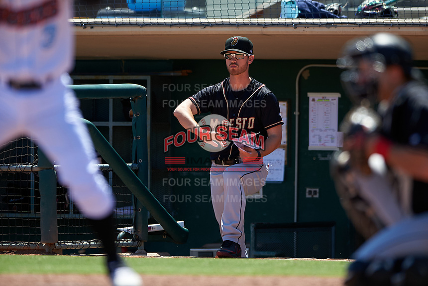 Modesto Nuts pitching coach Rob Marcello (36) during a California League game against the Inland Empire 66ers on April 10, 2019 at San Manuel Stadium in San Bernardino, California. Inland Empire defeated Modesto 5-4 in 13 innings. (Zachary Lucy/Four Seam Images)