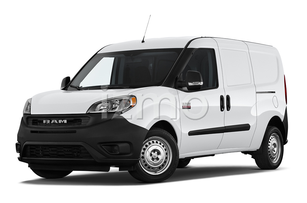 Stock pictures of low aggressive front three quarter view of 2019 Ram Promaster-City Tradesman 5 Door Car Van Low Aggressive