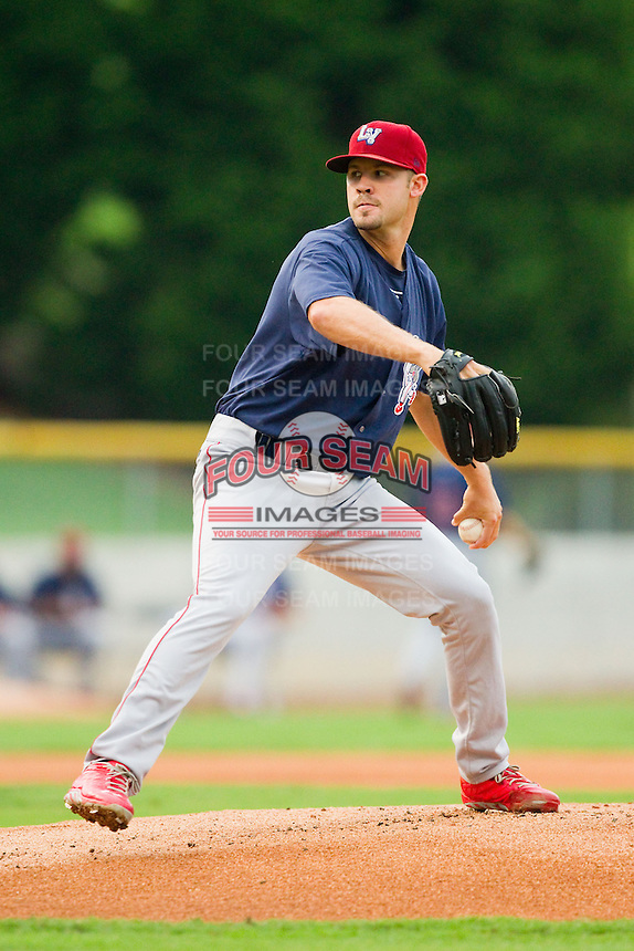 Lehigh Valley IronPigs starting pitcher Adam Morgan (21) in action against the Charlotte Knights at Knights Stadium on August 6, 2013 in Fort Mill, South Carolina.  The IronPigs defeated the Knights 4-1.  (Brian Westerholt/Four Seam Images)
