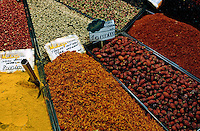 Stall selling spices at the Grand Bazaar, one of the largest and oldest covered markets in the world, Istanbul, Turkey.