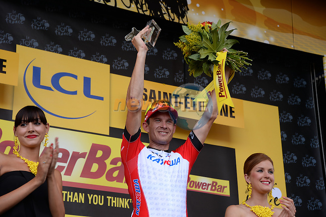 Alexander Kristoff (NOR) Katusha wins Stage 12 of the 2014 Tour de France running 185.5km from Bourg-en-Bresse to Saint Etienne. 17th July 2014.<br /> Photo ASO/X.Bourgois/www.newsfile.ie