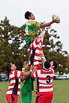Visesio Finau claims lineout ball  as Andrew MCConchie miss times his jump. Counties Manukau Club rugby Premier game between Drury and Karaka played at Drury on Saturday May 1st, 2010. Karaka won the game 32 -12 after leading 25 - 7.