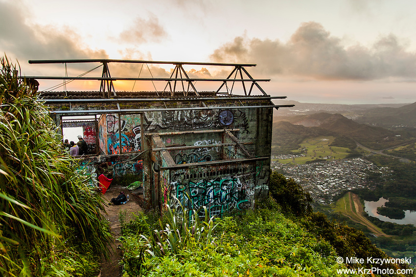 "Abandoned U.S. Military building covered in graffiti near the top of Haiku Stairs (""Stairway to Heaven"") hiking trail in Kaneohe, Oahu"