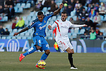 Getafe´s Sammir (L) and Sevilla´s Diego during 2014-15 La Liga match at Alfonso Perez Coliseum stadium in Getafe, Spain. February 08, 2015. (ALTERPHOTOS/Victor Blanco)
