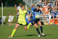 Kansas City, MO - Saturday June 25, 2016: Beverly Yanez, Alex Arlitt during a regular season National Women's Soccer League (NWSL) match at Swope Soccer Village.