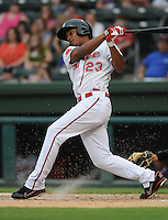 Infielder Xander Bogaerts (23) of the Greenville Drive, Class A affiliate of the Boston Red Sox, in a game against the Lexington Legends on August 5, 2011, at Fluor Field at the West End in Greenville, South Carolina. (Tom Priddy/Four Seam Images)