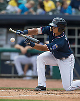 NWA Democrat-Gazette/BEN GOFF @NWABENGOFF<br /> Anderson Miller, Northwest Arkansas left fielder, bunts in the 4th inning against Arkansas Wednesday, May 16, 2018, at Arvest Ballpark in Springdale. The bunt brought in Elier Hernandez to score and Miller reached first on a throwing error by Arkansas pitcher Chase De Jong.