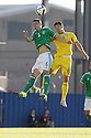 Romania's Andrei Prepelițand  Northern Ireland's Chris Baird head the ball during the UEFA EURO 2016 qualifying Group F soccer match between Northern Ireland and Romania at Windsor Park in Belfast, Northern Ireland, 13 June 2015.  EPA/PauL McErlane