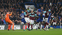 West Ham fail to connect with a corner<br /> <br /> Photographer Rob Newell/CameraSport<br /> <br /> The Premier League - Chelsea v West Ham United - Sunday 8th April 2018 - Stamford Bridge - London<br /> <br /> World Copyright &copy; 2018 CameraSport. All rights reserved. 43 Linden Ave. Countesthorpe. Leicester. England. LE8 5PG - Tel: +44 (0) 116 277 4147 - admin@camerasport.com - www.camerasport.com