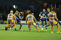 Willis Halaholo of Cardiff Blues is tackled by Gerhard Olivier of Toyota Cheetahs during the Guinness Pro14 Round 5 match between Cardiff Blues and Toyota Cheetahs at the Cardiff Arms Park Stadium in Cardiff, Wales, UK. Friday 28 September 2018