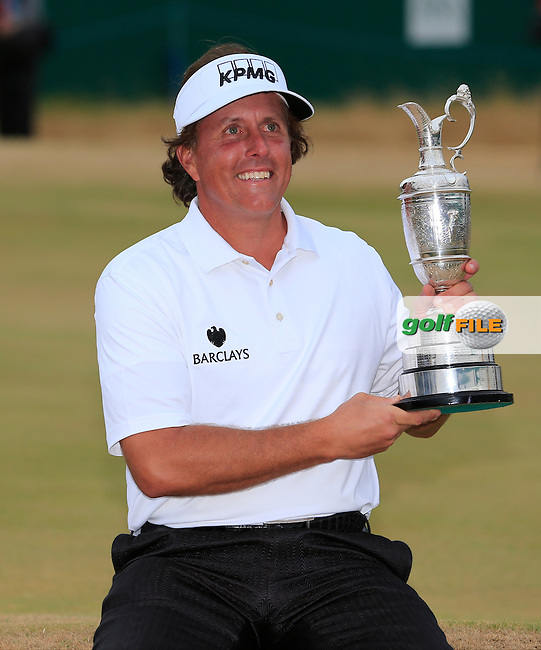 Phil MICKELSON (USA) is the Champion golfer at the 142th Open Championship Muirfield, Gullane, East Lothian, Scotland 21/7/2013<br /> Picture Fran Caffrey www.golffile.ie: