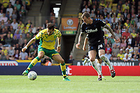 Aden Flint of Middlesbrough tries to put Mario Vrancic of Norwich City under pressure during Norwich City vs Middlesbrough, Sky Bet EFL Championship Football at Carrow Road on 15th September 2018