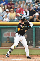 Zach Borenstein (18) of the Salt Lake Bees at bat against the Fresno Grizzlies at Smith's Ballpark on May 25, 2014 in Salt Lake City, Utah.  (Stephen Smith/Four Seam Images)