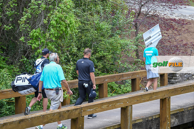Tyrrell Hatton (ENG) heads across the bridge on 5 during day 4 of the WGC Dell Match Play, at the Austin Country Club, Austin, Texas, USA. 3/30/2019.<br /> Picture: Golffile | Ken Murray<br /> <br /> <br /> All photo usage must carry mandatory copyright credit (© Golffile | Ken Murray)
