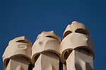 Chimney Pots on Pedrera House by Gaudi in Barcelona, Catalonia, Spain