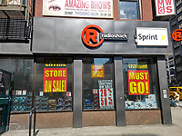 Everything is on sale at a RadioShack store in New York in Thursday, March 9, 2017 . RadioShack has once again filed for Chapter 11 bankruptcy protection for the second time in two years. General Wireless announced it will close 187 stores by March 13 and eventually close approximately 365 more stores or transfer ownership of them to Sprint. (© Richard B. Levine)