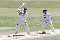 Tom Moores in batting action for Notts as Adam Wheater looks on from behind the stumps during Essex CCC vs Nottinghamshire CCC, Specsavers County Championship Division 1 Cricket at The Cloudfm County Ground on 22nd June 2018