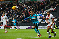 Fleetwood Town's Wes Burns chasing down a loose ball under pressure from Milton Keynes Dons' Scott Golbourne<br /> <br /> Photographer Andrew Kearns/CameraSport<br /> <br /> The EFL Sky Bet League One - Milton Keynes Dons v Fleetwood Town - Saturday 11th November 2017 - Stadium MK - Milton Keynes<br /> <br /> World Copyright &copy; 2017 CameraSport. All rights reserved. 43 Linden Ave. Countesthorpe. Leicester. England. LE8 5PG - Tel: +44 (0) 116 277 4147 - admin@camerasport.com - www.camerasport.com